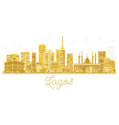 Lagos city skyline golden silhouette vector