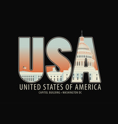 Letters usa with the image of the capitol building vector