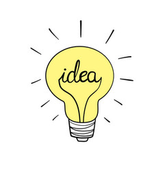 Light bulb icon with concept idea doodle hand vector
