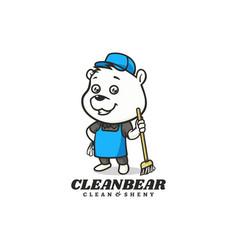 Logo clean bear mascot cartoon style vector