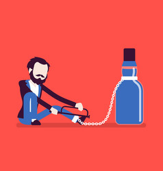 Man with bottle in alcohol dependency vector