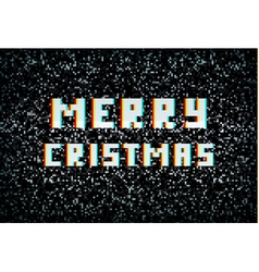Merry Christmas card technology concept pixel vector image