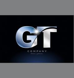 Metal blue alphabet letter gt g t logo company vector