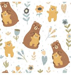 Mother bear with her baby seamless pattern vector