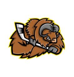 Musk ox ice hockey mascot vector