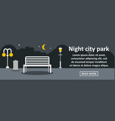 Night city park banner horizontal concept vector