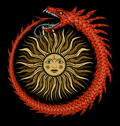 ouroboros ancient egyptian symbolism vector image