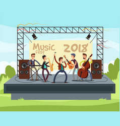 Outdoor summer festival concert with pop music vector
