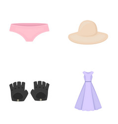 Panties gloves dress hat clothing set vector