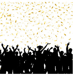 party crowd on gold confetti background vector image