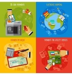 Payment methods 4 flat icons square vector