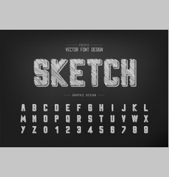 pencil font and round alphabet sketch typeface vector image