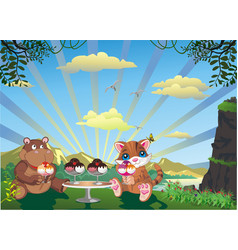 picture - kitten and hippo with ice cream outdoors vector image