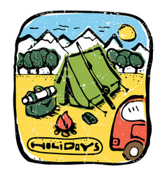 Picture of camping in the woods emblem label vector