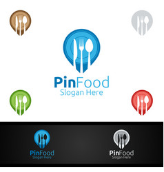 pin healthy food logo for restaurant or cafe vector image