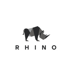 Polygons rhino low poly animal logo vector image