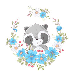 postcard poster cute little raccoon in a wreath of vector image