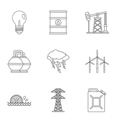 Power industry icon set outline style vector