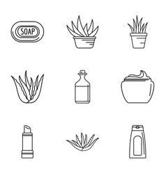 Private salon icons set outline style vector