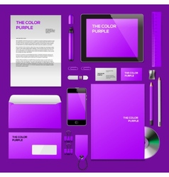 Purple corporate id mockup vector