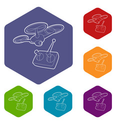 Rc helicopter icon outline style vector