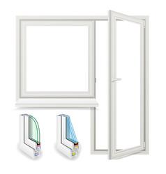 realistic plastic window with door vector image