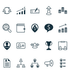 resources icons set with prize organizational vector image