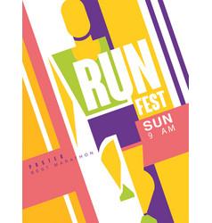 run fest colorful poster best marathon template vector image