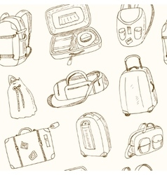 Seamless pattern different travel bags and vector