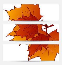 Set autumnal cards with maple leaves vector image