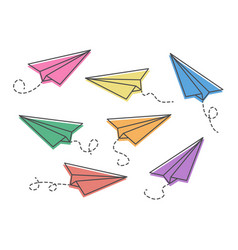 Set colorful paper planes isolaten on white vector