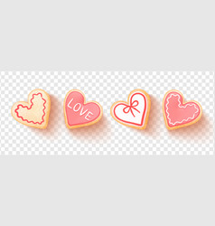 Set heart shaped cookies isolated on vector