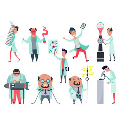Set male scientists characters in laboratory vector