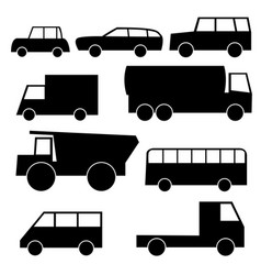 set of icons with wheeled vehicles vector image vector image