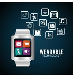 smart watch wearable technology multimedia vector image