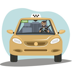smiling taxi driver in uniform in his car vector image