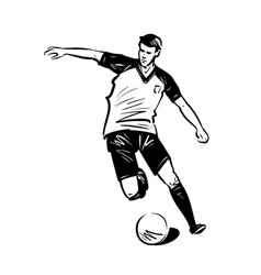 Soccer player run with ball sport concept sketch vector