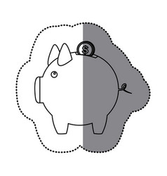 Sticker silhouette piggy bank with dollar coin vector