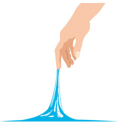 Sticky slime reaching stuck for hand blue banner vector