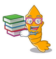 Student with book steamed fresh raw shrimp on vector