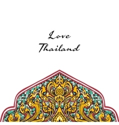 Thai floral yellow and decorative ornament vector