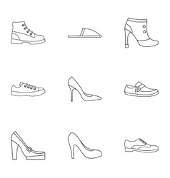 Types of shoes icons set outline style vector
