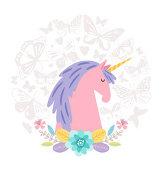 unicorn dream flat on round background with vector image