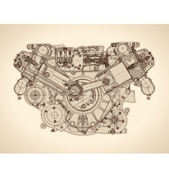 Vintage engine old picture vector