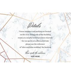 wedding details card geometric design vector image
