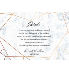 Wedding details card of geometric design vector