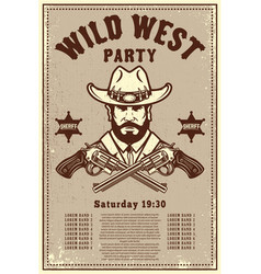 wild west party poster template cowboy hat with vector image
