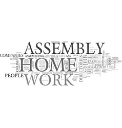 Work at home assembly text word cloud concept vector