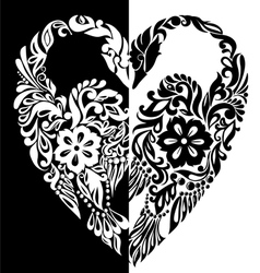 black and white swans from vector image