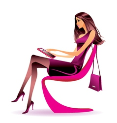 Business woman with tablet in office vector image vector image
